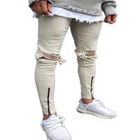 Hip Hop de los hombres ajuste delgado del motorista rectos del agujero de los pantalones elásticos de la cremallera Denim Jeans pitillo desgastados Lamentando Rip Pantalones