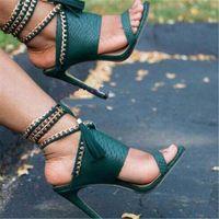Nuevas mujeres del diseño abierto de la manera del dedo del pie del cuero del patrón oro Cadenas Gladiator sandalias zapatos de vestir sandalias con cordones del alto talón