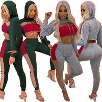 Frauen fallen 2 Stück Set Hoodie Leggings Trainingsanzug mit Kapuze Patchwork Shirt Hose Sportswear Mesh Langarm Crop Top getäfelten Outfits LJJA2806