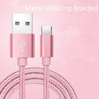 10FT 6 pies 3 pies carcasa de metal trenzado Micro USB Tipo de cable C cable de carga para Samsung S8 Android Móvil