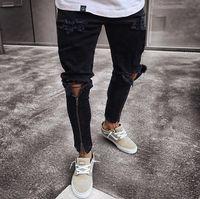 Jeans pour hommes Black Zips Pantalon Moto Slim Cool Design Distracité déchirée d'automne printemps