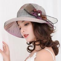 Para mujer Retro Sombrero de Sol Señoras Gracia Gran Ala Flor Sol Cap  Summer Beach Holiday b4163892682