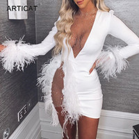 Articat Sexy See Through Sequin Mesh Patchwork Robes Femmes Décolleté en V plume blanche Mini robe de soirée Ladies Nightclub Vestidos