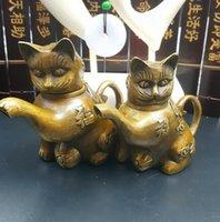 Pot cuivre pur Antique gros Décorations Lucky Cat Pot Teapot Décoration Artisanat Cadeaux Antiquités Collections