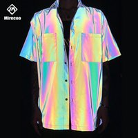 2020 shirt laser arcobaleno riflettente Mens Pocket Beach Shirts Harajuku Punk Rock Hip Hop Mens Shirt Streetwear Tops Clothes