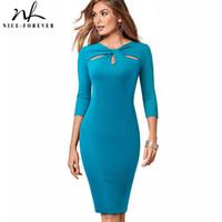 Niza-siempre la vendimia elegante del color puro sólido ahueca hacia fuera los vestidos de las mujeres Trabajo Oficina bodycon vestido de partido del negocio B485