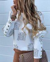 Estate OL bianco maglietta Lettera camicia signore della stampa chiffon sexy Womens camicetta nera lunga del club manica ragazza sera d'autunno di moda 5XL