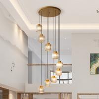 Merdiven Uzun Avize Dubleks Kat Basit Modern Villa Salon Uzun Kristal kolye Lambalar Yuvarlak Döner Kristal Lights Asma açtı