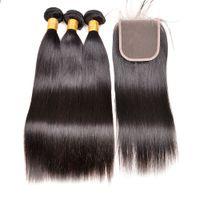 8A Brasilianisches Reines Haar mit Verschlussverlängerungen 3 Bündel Brasilianisches Gerade Wellenhaar mit 4x4 Spitzenverschluss Remy Menschliches Haar Webart