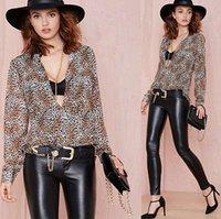 Сексуальные женские свободные шифоновые топы рубашка с длинным рукавом повседневная леопардовая блузка