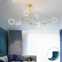 2019 Neuestes Nordic Stil Leuchter-Beleuchtung Molecular Lampe kreative Persönlichkeit Einfaches Licht Modernes Schlafzimmer Esszimmer Modell Study Laterne