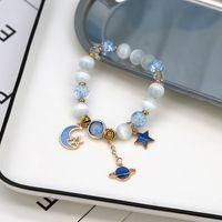 5 цветов Bohemian Натуральный камень Браслеты Crystal Star Moon Planet браслет из бисера кошачий глаз Регулируемые браслеты Мода Ювелирные аксессуары
