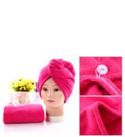 Cuffie per la doccia per Magic Quick Dry capelli in microfibra porta asciugamani Turbante Cappello Wrap Caps Spa balneazione EEA1337-5