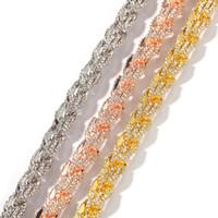 Сплав инкрустация Drill 9 мм Веревка ожерелье цепи цвета золота Iced Стразы Hip Hop ожерелья Jewelry Мужчины Женщины