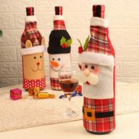 Рождество бутылки вина Обложка 3 Стили Санта-Клаус украшения Званый ужин красное вино Обложка сумка Xmas Бутылка Обложка OOA7271-2