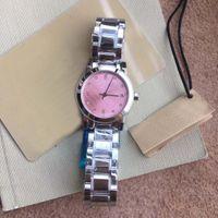 26MM Vestido de cuarzo para mujer Relojes para mujer Relojes de pulsera suaves y silenciosos para damas 316L Pulsera de acero inoxidable plateado Diamante de color rosa