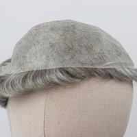 Sıcak satış Cilt peruk Gri Saç Erkekler 0.12-0.14mm Cilt peruk Doğal Görünümlü Saçlar Temizle Poly Bankası İnsan Saç Erkekler Peruk