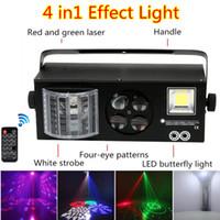 Mini luces de escenario DJ Disco Strobe + Laser + Pattern + Butterfly 4 en 1 DMX512 Luz de efecto para KTV Disco DJ Fiesta familiar Fiesta de Navidad Boda