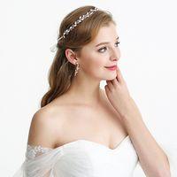 ذات نوعية جيدة وردة نوع ذهب سبائك الزنك الزفاف غطاء الرأس تيارا الزفاف الشعر اكسسوارات الخرز اليدوية العصابة مجوهرات للعروس مساء التيجان