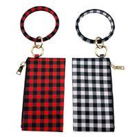 Stock Personalized Bracelet Clutch Black Wristlet Bangle And Monogrammed Plaid Keyring Red Keychains Buffalo White Leather PU Jbxkg