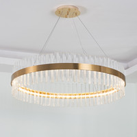 Роскошные Алмазного LED Люстра Кристалл лампа Современного хрустальный светильник Круг висячих Люстры LED Украсьте Светильник домашнего свет