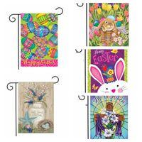 Cartoon-Ei-Flagge Ostern Garten Kaninchen Tiere Eikarikatur gedruckte Fahnen Banner Yard-Garten-Dekoration Flaggen Partybedarf WY528Q