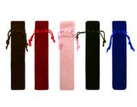 Pen único saco Fountain Pens Pouch Artesanais flanela Bag Lápis Marcador Pen Bolsa Titular Armazenamento luva Cosmetic Pouch 5 cores 100pcs / lot