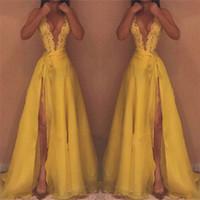 Vestidos de fiesta sin mangas con cuello en V de color amarillo profundo 2019 apliques de encaje en los costados 30D gasa vestidos de noche sin espalda largos