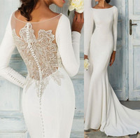 Perline Sheer Back Abiti da sposa Mermaid Abiti da sposa maniche lunghe Sweep Train Satin Garden Beach Abito da sposa Taglie forti