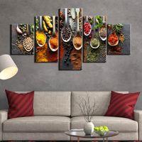 5 piece Pittura cucina tela Immagine immagine della parete dei 5 pannelli spezie foto della parete del salone d'arte