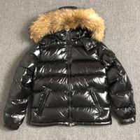 Capucha de piel de mapache con cremallera negra de invierno estilo británico de estilo británico chaqueta con capucha clásico Mantenga cálido Thick Thick Parka Men's S-XXXL