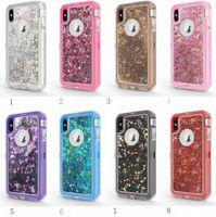 3in1 Heavy Duty Glitter Étui Liquide Antichoc Hybride Protection Complète Pour Iphone XR XS Max 7 8 PLUS samsung S10 S10E S9 S8