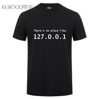 Забавный IP-адрес футболка мужчины лето с коротким рукавом хлопок там нет места, как 127.0.0.1 компьютерный гик комедия футболка топы
