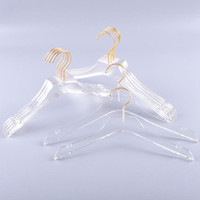 Cabides de roupas de luxo Limpar Ganchos de Vestido De Acrílico com Gancho de Ouro Titulares de Camisas Transparentes com entalhes para Senhora Crianças