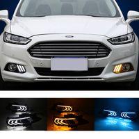 Carro piscando LED Drl Daytime Running Light para Ford Mondeo Fusion 2013 2015 2015 2016 Estilo de carro à prova d'água com furo da lâmpada da névoa