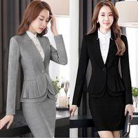 2019 Lady Printemps Automne Slim Fit Blazers Tuxedo femmes travail Peplum Costume femmes de veste à manches longues Casual Blazers Noir Gris 4XL