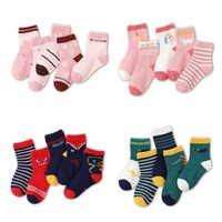 5Pcs / Set bébé Chaussettes enfants 30 Cartoon Designs rayé Casual Athletic Moyen Tube Sock bébé sockings doux Sock Enfants Chaussettes M1071