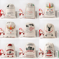 Sacs cadeaux de Noël Père Noël Sacks Monogrammable Père Noël Sac Sac à cordonnet Père Noël Cerfs 9 Designs en vrac en stock LXL640Q