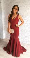 Modest Charming V-Neck Mermaid Long Evening Dresses Zipper Back Sweep Train Formal Evening Gowns Prom Dresses Robe De Soiree