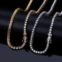 3 millimetri Bling fuori ghiacciato zircone 1 Row Tennis Chain degli uomini collana di gioielli hip hop Charms Oro Argento Rose Gold