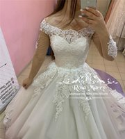 Princess Ball Gown Lace Wedding Dresses 2019 Long Sleeves Of...