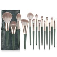 Novas escovas de maquiagem 14 pcs Profissional BRSUH conjunto com saco de cabelo sintético bronzer pó blush highlighter fundação compõem o conjunto de pincel.