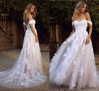 País Boho Beach Vestidos de Noiva 2020 Sexy Backless Uma Linha Off Ombro Appliced Tule Longo Verão Vestidos Noiva Bohemian BM1510