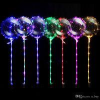 스틱 투명 풍선과 LED 빛 bobo 풍선 빛나는 둥근 거품 풍선 깜박이 웨딩 파티 장식