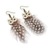 여성을위한 패션 5 색 깃털 귀걸이 빈티지 올빼미 드롭 귀걸이 보헤미안 쥬얼리 선물 E1396