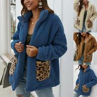 Las mujeres Fleece abrigos de piel holgada chaqueta caliente Outwear la capa del invierno mullido bolsillo con cremallera del color del llano