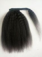 Yaki brut kaki cordon droit queue de cheval cordon de cheveux humain s'enroule autour italien yaki queue de poney postiche queue de cheval afro-américain naturel