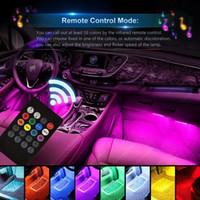 سيارة الداخلية ضوء 4PCS 8 اللون 72 LED Multicolor الموسيقى LED الشريط أضواء السيارات أضواء الجو، الصمام الشريط لسيارة الصوت وظيفة نشط