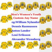 السويد 2019 بطولة العالم للهوكي الفانيلة IIHF Markstrom جيرسي وسكار ليندبلوم الياس يندهولم بيترسون إريك غوستافسون مخيط مخصص