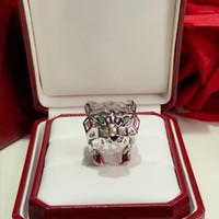 Panthère de c Ювелирное кольцо S925 Стерлинговое посерелье Стерлингового серебристого шипованного пятна леопардового кольца Женщина Party Ring1